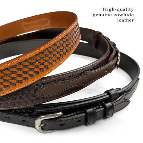 """James Western Basket-weave Genuine Leather Durable Ranger Belt, 1-1/2"""" Wide"""