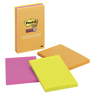 Post-it Super Sticky Lined Notes 4 X 6 Inches Rio De Janeiro Colors Pack Of 3
