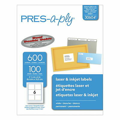 Avery Pres-a-ply Laser Address Labels 3-13 X 4 White 600box Ave30604