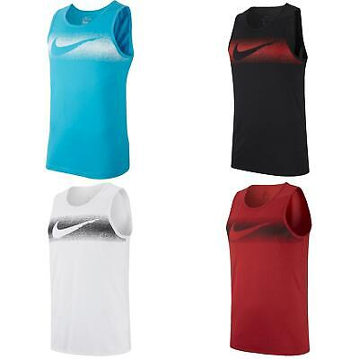 Nike Chalk Swoosh Tank Mens Dri Fit Muscle Shirt Crew Training Sleeveless -