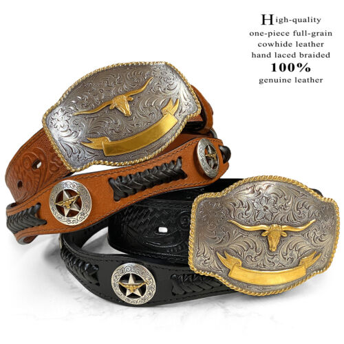State Of Texas Longhorn Star Cowboy Western Embossed Leather Belt, Sizes 32-48!