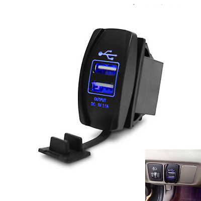 12V 24v Car Van Bus Marine Boat Dual USB Sockets Power Charger Adapter Blue LED