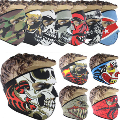 Reversible Neoprene Skull Full Face Mask Ride Cycling Motorcycle Ski Snow Sports