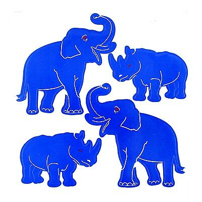 Feng Shui Blue Rhino and Elephant Decals Sticker