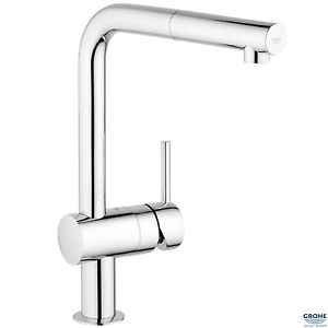 GROHE 32168 Minta Kitchen Sink Mixer, L-shaped Pull Out Spout, Chrome, 32168000