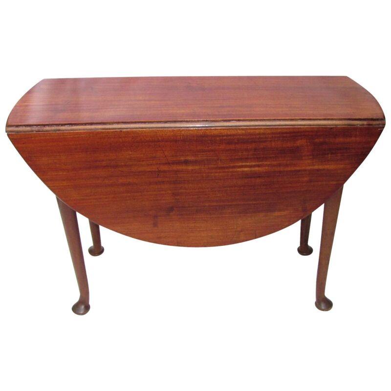 Antique English Mahogany Queen Anne Dropleaf Table Circa 1750