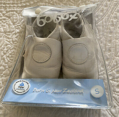 BOBUX Classic! Soft Sole Genuine Leather Baby Shoes White Girl Boy Small 3-9m