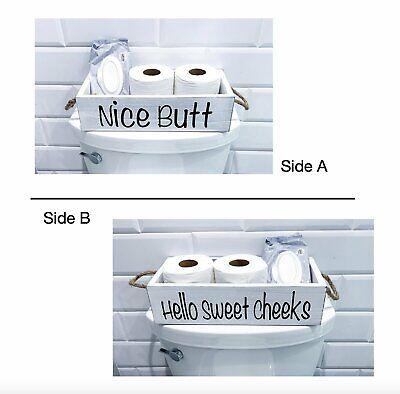 Nice butt, hello sweet cheeks wood bathroom Box, Toilet Paper wooden holder, Fun Bath