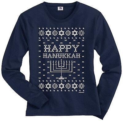 Threadrock Women's Happy Hanukkah (Ugly Sweater) Long Sleeve T-shirt Hebrew - Hanukkah Ugly Sweater