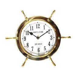 Ship Nautical Steering Wheel Clock Accurate Quartz in Solid Brass
