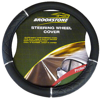 STEERING WHEEL COVER BLACK AND CHROME LEATHER LOOK - BRAND NEW