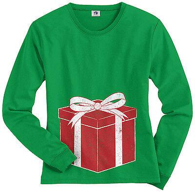 Threadrock Women's Baby Reveal Christmas Present Long Sleeve T-shirt Pregnancy ()