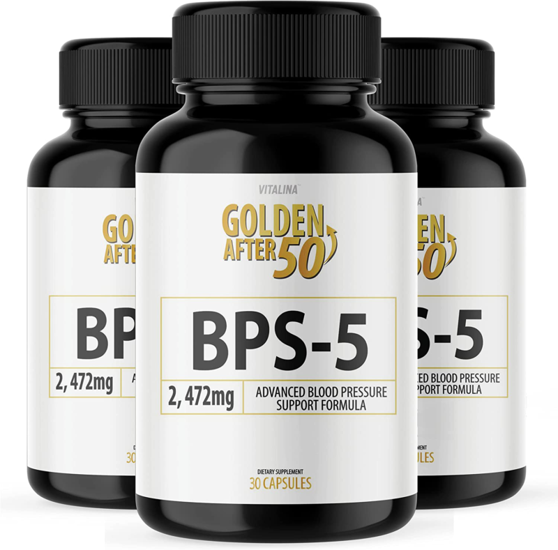 (3 Pack) Official BPS-5 Golden After 50 - Advanced Blood Pressure Support Formul