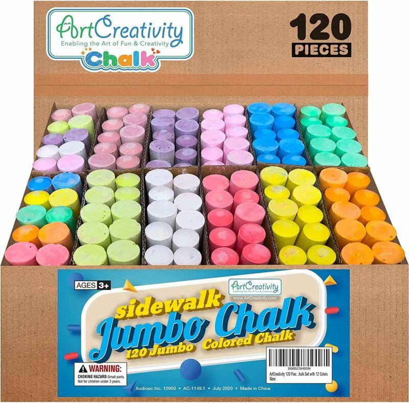 ArtCreativity Jumbo Sidewalk Chalk Set for Kids, Giant Box of 120 Colorful...