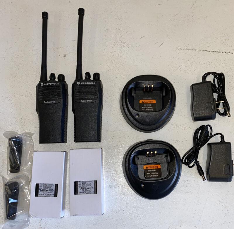 2 Motorola CP150 Radios AAH50KCC9AA1AN VHF 4 Ch 146–174MHz