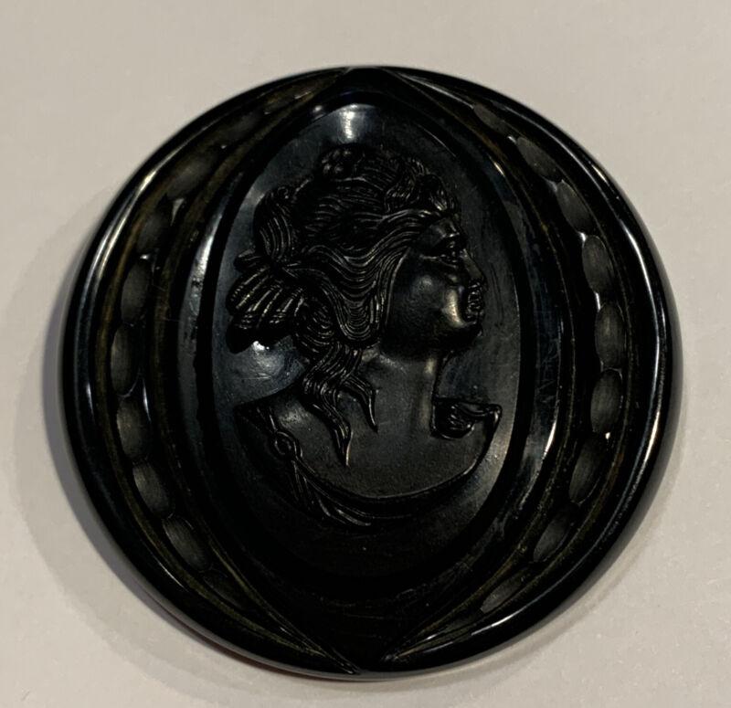 Vintage Large Black Bakelite Cameo Mourning Brooch Tested