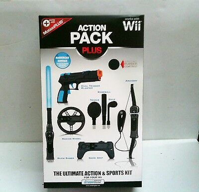 Wii Action Pack Plus 8 In 1 Accessory Kit - Bow, Steering...