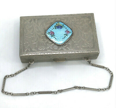 1920s Style Purses, Flapper Bags, Handbags RM Co Dance Purse Compact CarryAll Art Deco Guilloche Floral Chain Puffs 1920s $95.00 AT vintagedancer.com