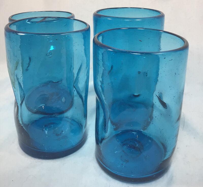 "Blenko Glass Blue Dimpled Bubble Tumblers 5"", Pontil"