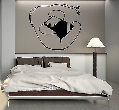 Wall Decal Music Player for Teens Room Headphones Art Vinyl