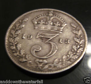 SOLID-SILVER-Threepence-1913-Coin-Antique-Vintage-PSV-Eindhoven-Dutch-Holland-UK