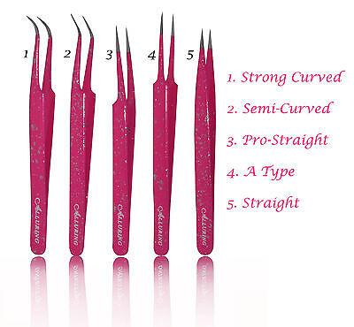 Eyelash Extension Magenta W/ Glitter Tweezers