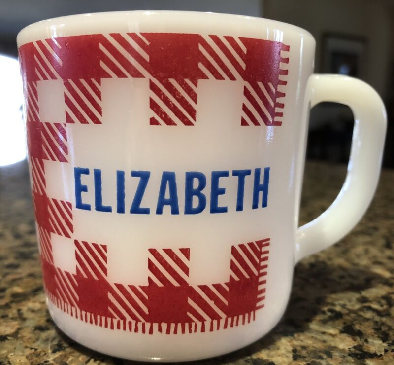 Vintage Westfield Heat Proof Plaid Mug, In Perfect Condition With Name Elizabeth