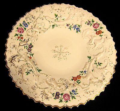 Gorgeous Antique Meissen Porcelain Floral Roses High Relief Gold Gilt Plate 1850