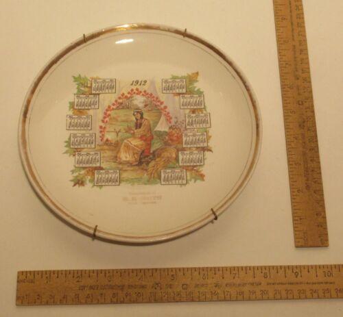 1912 Calendar PLATE - Indian Maiden Shucking Corn - R.B. SMITH The Grocer