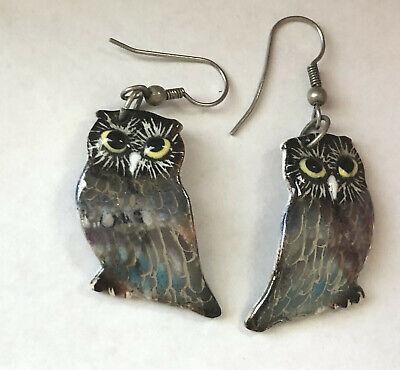 Artisan Iridescent Black Blue White Porcelain Ceramic Big OWL Pierced Earrings
