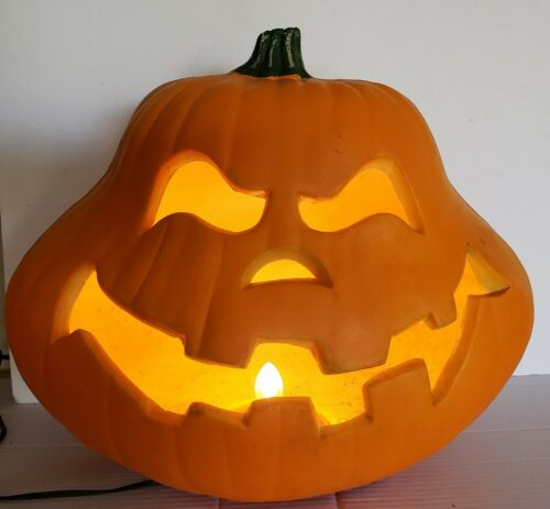 "Vintage LARGE 13"" Lighted Foam Halloween Pumpkin Jack O Lantern Light"