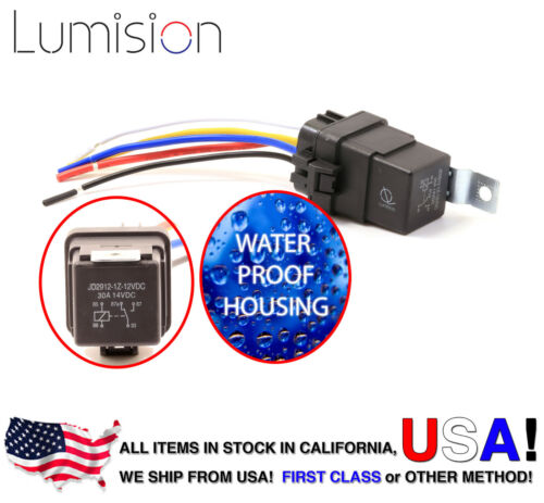 Lumision 30AMP 12V DC Water proof Relay and Harness 5-PIN SPDT Bosch Style 30A