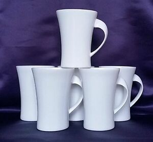 Set of 6 Plain White Bone China Oval Shaped Twist Mugs Modern