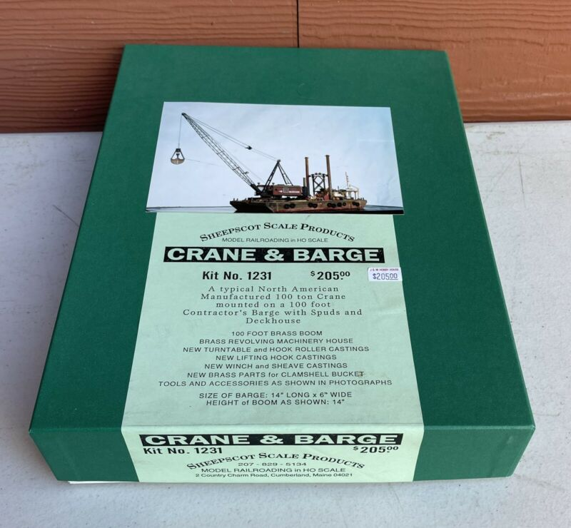Sheepscot Scale Products 1/87  no. 1231 Crane & Barge HO Craftsman Building Kit