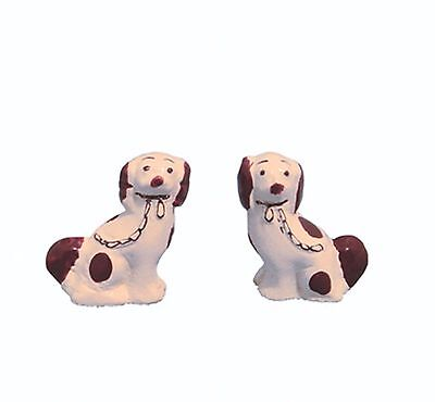 DOLLS HOUSE 1/12th SCALE  PAIR OF STAFFORDSHIRE DOG ORNAMENTS