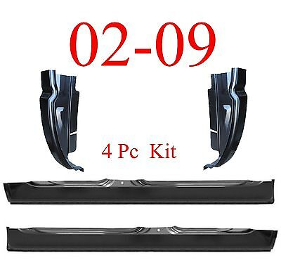 02 09 Dodge 4Pc Quad Cab Extended Rocker & Quad Cab Corner Set, 4 Door Ram Truck