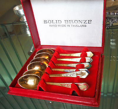 BOXED SET SIAMESE SOLID BRONZE-ENAMELLED SPOONS-COLOURS VARIOUS ^