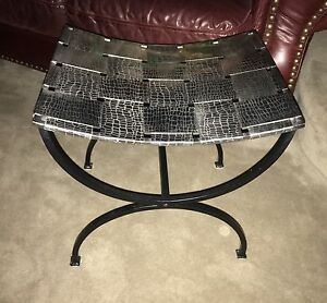 Chrome metal accent stool with solid steel legs