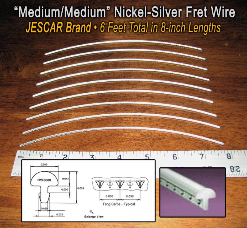 6 feet of Medium/Medium Premium Jescar Nickel-Silver Guitar Fret Wire/Frets
