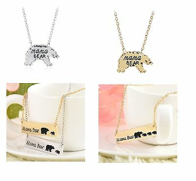 Mama Bear Cub Necklace Mother Child Daughter Son Mommy Silver Gold Tone (Gold Mother Child Jewelry)
