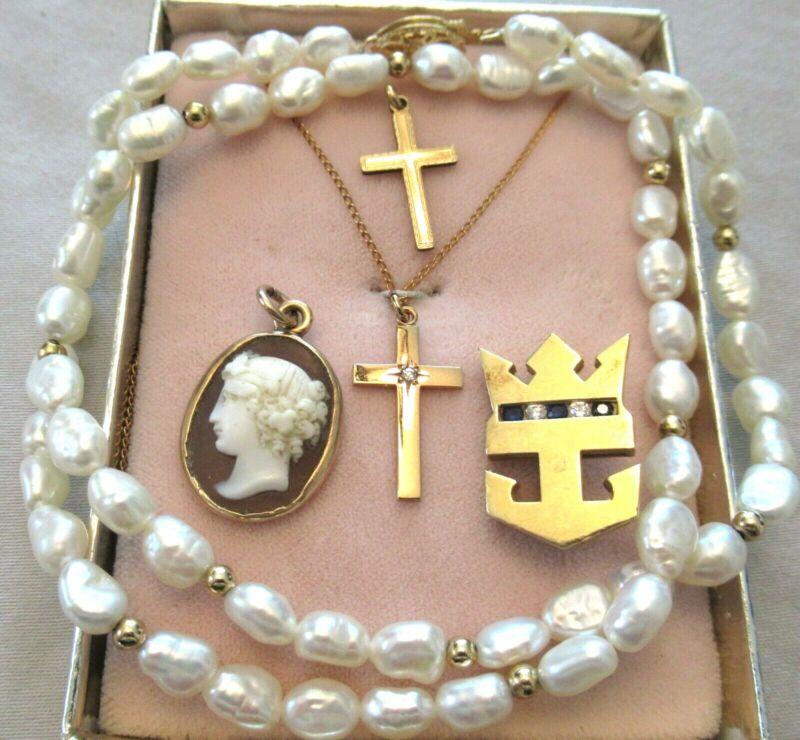 10K & 14K Gold Pearl Cameo Diamond Cross Necklace Jewelry Lot