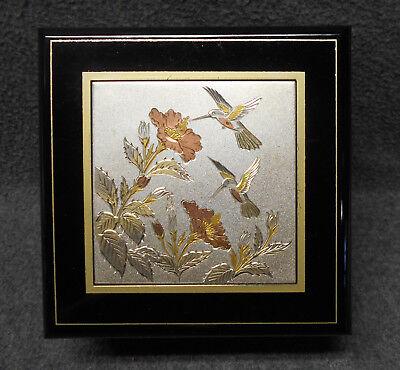 San Francisco Music Box Co Jewelry Box - Black Lacquer - Hummingbirds - Tan Felt