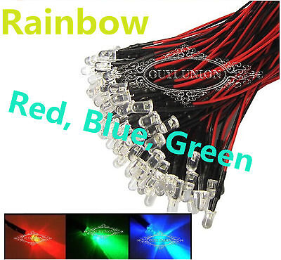Lots 10PCS RGB LEDs Pre Wired Red Green Blue Slow Flash Rainbow Light 12V 10mm on Rummage