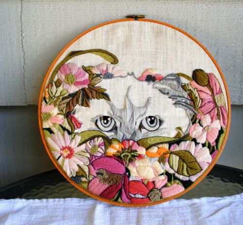 Vintage Fancy Cat Finished Crewel Embroidery Dimensions 1980 Floral  Face Hoop