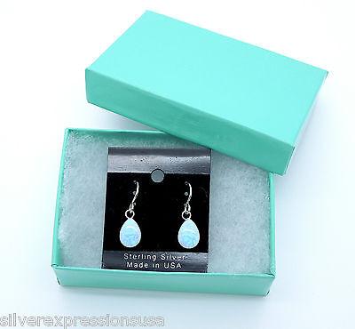 7x10mm Teardrop Cabachon Blue Fire Opal 925 Sterling Silver Dangle Earrings