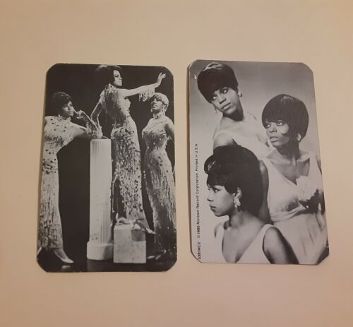 """SET OF 2 DIANA ROSS * SUPREMES 1986 MOTOWN 4"""" X 2 1/2"""" B/W CARDS # 2"""