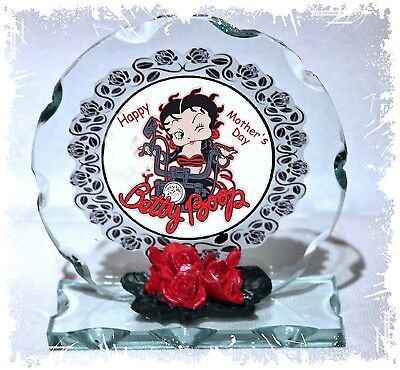 Betty Boop Round Glass - Betty Boop Birthday Gift Cut Glass Round Plaque Ltd Edition Betty Biker #1
