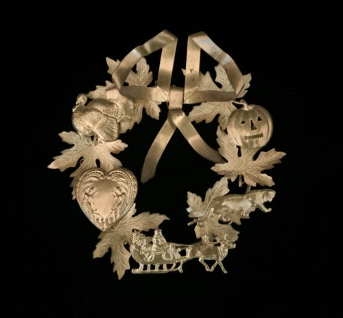 """Vintage Dresden Petites Choses Holiday Brass Wreath 7"""" Fall Halloween"""