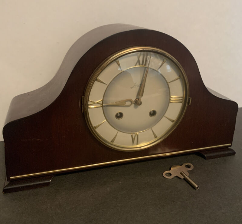 Vintage JUNGHANS 8-Day Napoleon Hat Mantel Clock Art Deco Circa 1930 Germany