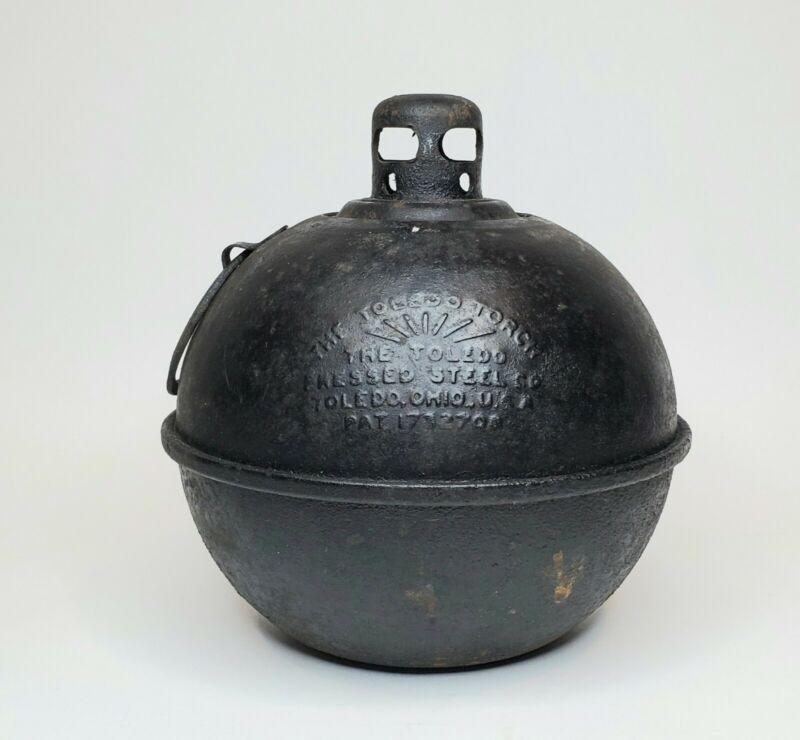 Vintage THE TOLEDO TORCH Metal Road Highway Flare Man Cave Decor Smudge Pot